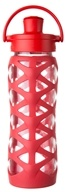 Lifefactory - Glass Bottle with Active Flip Cap and Silicon Sleeve Charged Red - 22 oz.