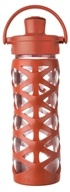 Lifefactory - Glass Bottle with Active Flip Cap and Silicon Sleeve Golden Gate Orange - 16 oz.