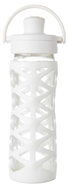 Lifefactory - Glass Bottle with Active Flip Cap and Silicon Sleeve Optic White - 16 oz.