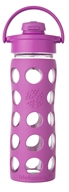 Lifefactory - Glass Bottle with Flip Cap and Silicone Sleeve Huckleberry - 16 oz.
