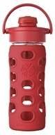 Lifefactory - Glass Bottle with Flip Cap and Silicone Sleeve Red - 12 oz.