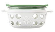 Lifefactory - One Cup Glass Food Storage with Silicone Sleeve Optic White & Grass Green - 240 ml.