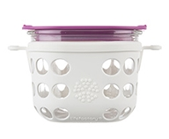 Lifefactory - Two Cup Glass Food Storage with Silicone Sleeve Optic White & Huckleberry - 475 ml.