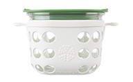 Lifefactory - Two Cup Glass Food Storage with Silicone Sleeve Optic White & Grass Green - 475 ml.