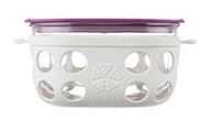 Lifefactory - Four Cup Glass Food Storage with Silicone Sleeve Optic White & Huckleberry - 950 ml.