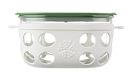 Lifefactory - Four Cup Glass Food Storage with Silicone Sleeve Optic White & Grass Green - 950 ml.