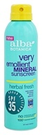 Alba Botanica - Very Emollient Mineral Sunscreen Herbal Fresh 35 SPF - 6 oz.