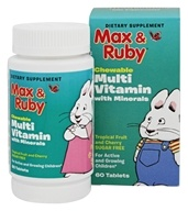 Treehouse Kids - Max and Ruby Multivitamin with Minerals Tropical Fruit and Cherry - 60 Chewable Tablets