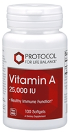 Protocol For Life Balance - Vitamin A 25000 IU - 100 Softgels