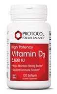Protocol For Life Balance - Vitamin D3 5000 IU - 120 Softgels