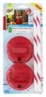 Ball - Wide Mouth Mason Jar Sip and Straw Lids Red - 4 Set(s)