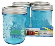Ball - Wide Mouth 16 oz. Pint Mason Jars Elite Collection Design Series Blue - 4 Count