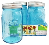 Ball - Wide Mouth 32 oz. Quart Mason Jars Elite Collection Design Series Blue - 4 Count