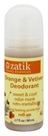 Zatik Beauty Essentials - Roll On Deodorant Orange & Vetiver - 2.7 oz.