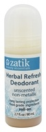 Zatik Beauty Essentials - Roll On Deodorant Herbal Refresh Unscented - 2.7 oz.