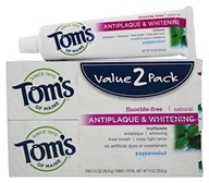 Tom's of Maine - Natural Toothpaste Antiplaque & Whitening Fluoride-Free Peppermint - 2 Pack