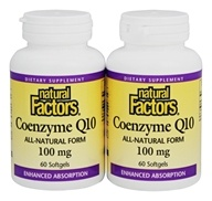 Natural Factors - Coenzyme Q10 Enhanced Absorption All-Natural Form Bonus Pack 100 mg. - 120 Softgels