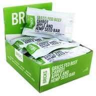 Bricks Meals & Snacks - Grass Fed Beef Protein Bars Box Carrot Apple and Hemp Seed - 12 Bars