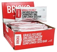 Bricks Meals & Snacks - Grass Fed Beef Protein Bars Box Uncured Bacon Cranberry and Sunflower Seed - 12 Bars