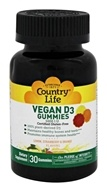 Country Life - Vitamin D3 Vegan Gummies Lemon, Strawberry & Orange 1000 IU - 30 Gummies
