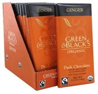 Green & Black's Organic - Chocolate Bars Box 60% Cacao Ginger Dark Chocolate - 10 Bars