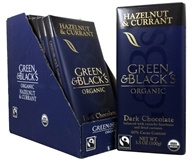 Green & Black's Organic - Chocolate Bars Box 60% Cacao Hazelnut & Currant Dark Chocolate - 10 Bars