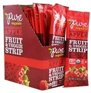 PureBar - Pure Organic Fruit & Veggie Strips Box Strawberry Apple - 24 Strip(s)