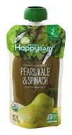 HappyFamily - HappyBaby Organic Clearly Crafted Stage 2 Baby Food 6+ Months Pears, Kale and Spinach - 4 oz.
