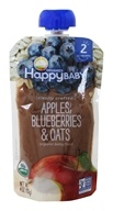 HappyFamily - HappyBaby Organic Clearly Crafted Stage 2 Baby Food 6+ Months Apples, Blueberries and Oats - 4 oz.