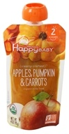HappyFamily - HappyBaby Organic Clearly Crafted Stage 2 Baby Food 6+ Months Apples, Pumpkins and Carrots - 4 oz.