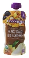 HappyFamily - HappyBaby Organic Clearly Crafted Stage 2 Baby Food 6+ Months Pears, Squash, and Blackberries - 4 oz.