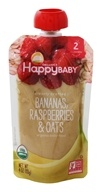 HappyFamily - HappyBaby Organic Clearly Crafted Stage 2 Baby Food 6+ Months Bananas, Raspberries and Oats - 4 oz.