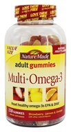 Nature Made - Multi + Omega-3 Adult Gummies Strawberry, Lemon & Orange - 150 Gummies