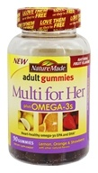 Nature Made - Multi for Her plus Omega-3s Adult Gummies Lemon, Orange & Strawberry - 90 Gummies