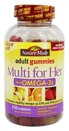 Nature Made - Multi for Her plus Omega-3s Adult Gummies Lemon, Orange & Strawberry - 150 Gummies