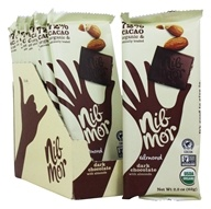 NibMor - Organic Dark Chocolate Bars Box Almond - 12 Bars