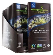 Endangered Species - Dark Chocolate Bars Box 72% Cocoa Blueberries - 12 Bars