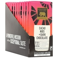 Endangered Species - Dark Chocolate Bars Box 72% Cocoa Cacao Nibs - 12 Bars