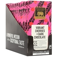 Endangered Species - Dark Chocolate Bars Box 72% Cocoa Cherries - 12 Bars