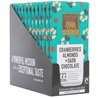 Endangered Species - Dark Chocolate Bars Box 72% Cocoa Cranberries & Almonds - 12 Bars