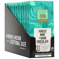 Endangered Species - Dark Chocolate Bars Box 72% Cocoa Deep Forest Mint - 12 Bars