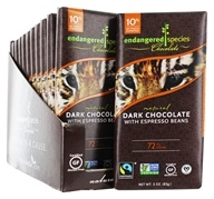 Endangered Species - Dark Chocolate Bars Box 72% Cocoa Espresso Beans - 12 Bars