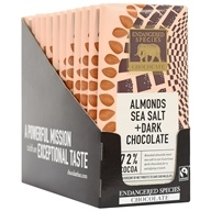 Endangered Species - Dark Chocolate Bars Box 72% Cocoa Sea Salt & Almonds - 12 Bars