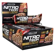 Muscletech Products - Nitro-Tech Crunch Bar Cinnamon Bun - 12 Bars