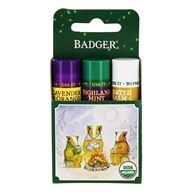 Badger - Organic Classic Holiday Lip Balm Green Box - 3 Pack