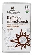 Lake Champlain Chocolates - Organic Dark Chocolate Bar Toffee & Almond Crunch - 3 oz.