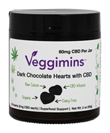 Veggimins - Raw Dark Chocolate Hearts with CBD - 30 Count
