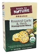Back To Nature - Organic Stoneground Wheat Crackers Roasted Garlic & Herb - 6 oz.