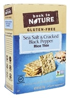 Back To Nature - Gluten-Free Rice Thin Crackers Sea Salt & Cracked Black Pepper - 4 oz.