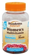 Sundown Naturals - Women's Multivitamin Gluten-Free Gummies with Biotin Delicious Raspberry - 60 Gummies
